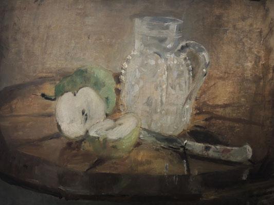 Berthe Morisot, Pomme coupée et pichet, 1876, Öl auf Leinwand