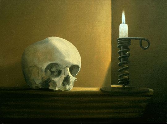 1996 Totenkopf mit Kerze Öl auf Leinwand, 30x40 cm