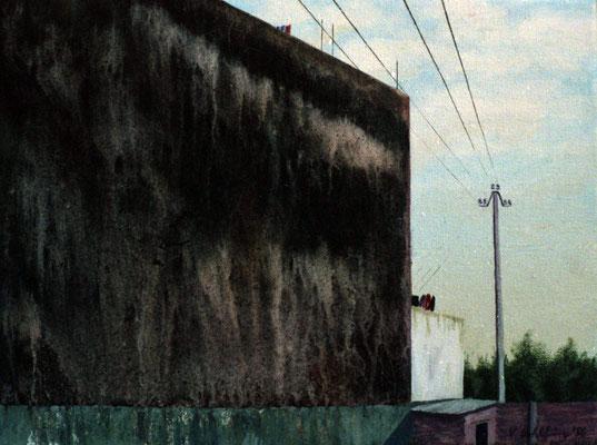 1986 Spanische Wände IV  Mischtechnik auf Leinwand 28x38