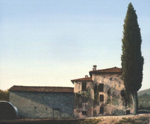 1996 Bauernhof mit großer Zypresse Mischtechnik auf Leinwand, 40x50 cm