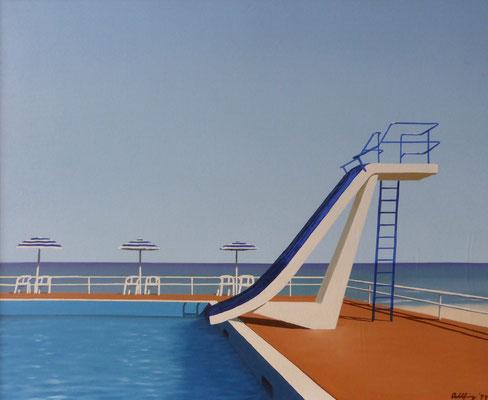 1999 Schwimmbad Öl auf Leinwand 50x60 cm