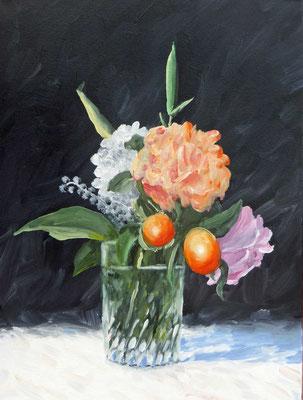2019 Blumenstrauß (Hommage à Manet) Öl auf Leinwand 40x30 cm