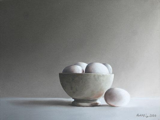 2000 Eierschale Öl auf Leinwand 30x40 cm