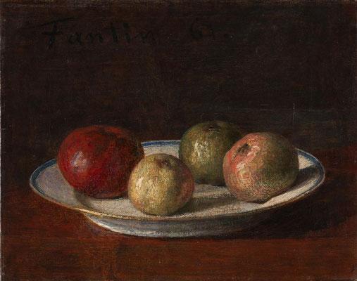 Henri Fantin-Latour, A Plate of Apples, 1861, Öl auf Leinwand, 21x26,4 cm