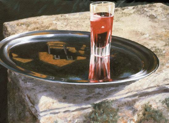 1987 Erster Aperitivo in der Villa Mischtechnik auf Leinwand 30x40 cm