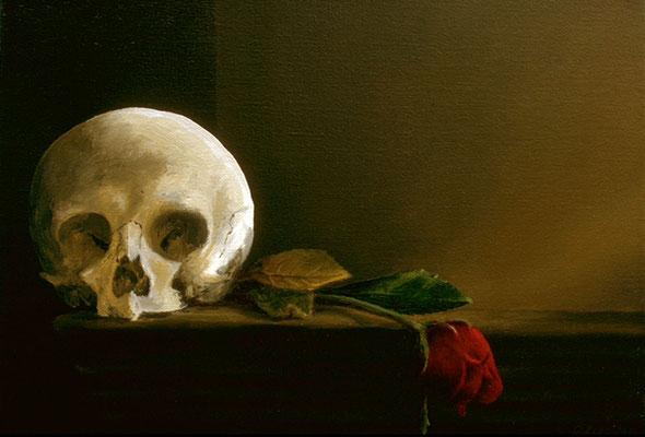1996 Totenkopf mit Rose Öl auf Leinwand, 30x40 cm