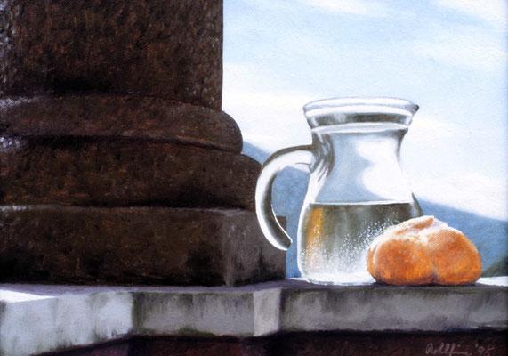 1995 Wasser und Brot Öl auf Leinwand, 30x40 cm