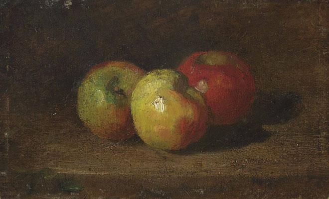 Gustave Courbet, Nature mort aux 3 pommes, 1871, Öl auf Karton, 15,5x25 cm