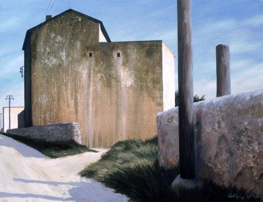 1995 Hohes Haus Mischtechnik auf Leinwand 40x50cm