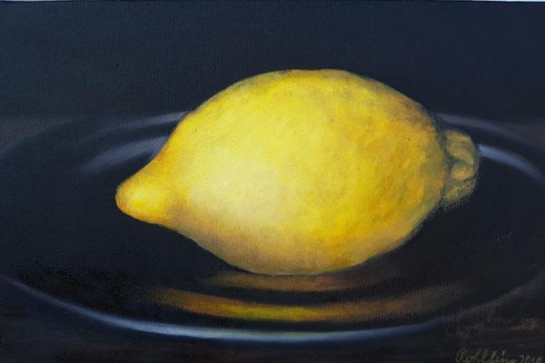 2018 Zitrone (Hommage a Manet) Öl auf Leinwand 20x30 cm