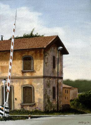 1996 Bahnwärterhäuschen Mischtechnik auf Leinwand 40x30 cm