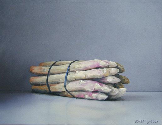 2002 Spargelbund (Hommage a Manet) Öl auf Leinwand 30x40 cm