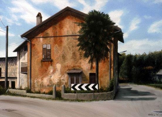 1996 Das Haus mit der Palme I Mischtechnik auf Leinwand 60x80 cm