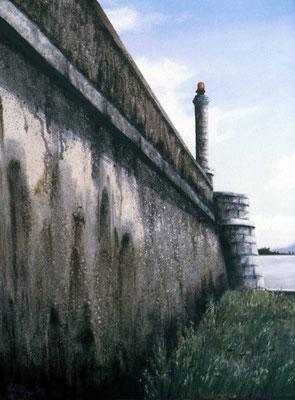 1999 Der Hafen von Angera  Mischtechnik auf Leinwand  100x80 cm