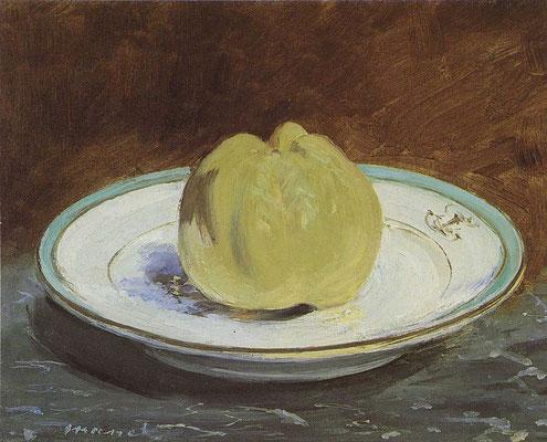 Édouard Manet, Pomme sur une assiette, 1880-82, Öl auf Leinwand, 21x26 cm