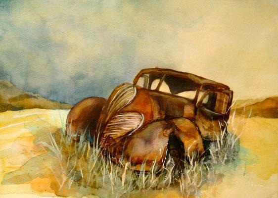 aquarell - oldtimer rostlaube 1