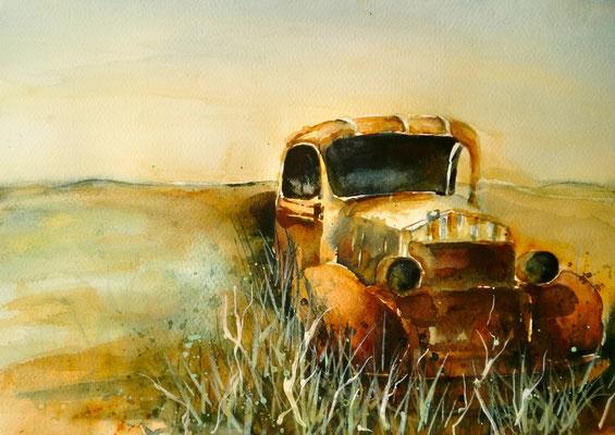 aquarell - oldtimer rostlaube 2