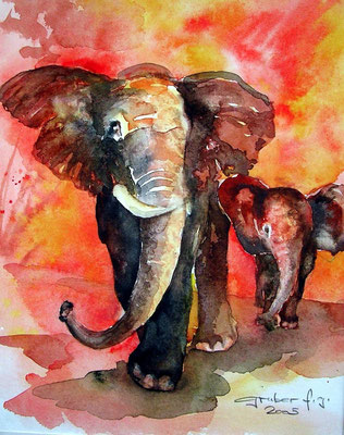aquarell - elefant 1