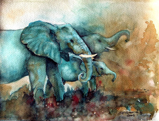 aquarell - elefant 2