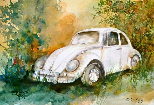 aquarell - oldtimer vw käfer