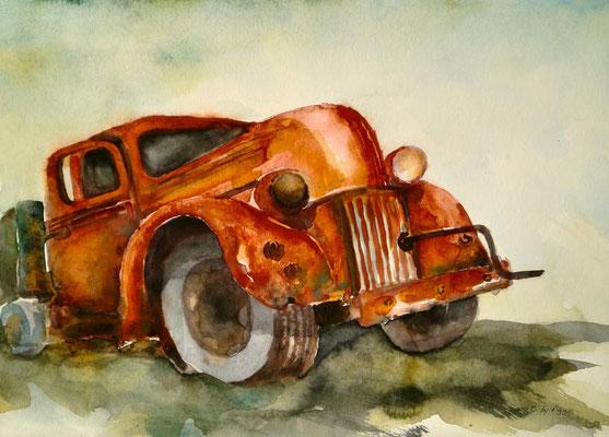 aquarell - oldtimer rostlaube 4
