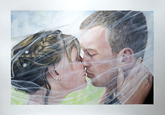 Der Kuss - 2020, 29,7 x 42 cm, Aquarell/Acryl auf Papier