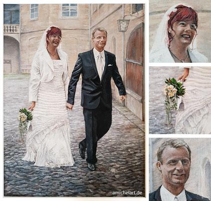 Udo & Katja - 2018, 33 x 46 cm, Acryl auf Malkarton; Ansicht mit Details