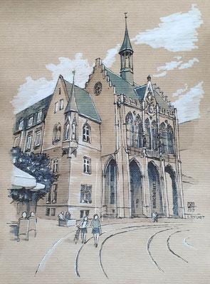 Erfurt, Rathaus - 2019, 21 x 29 cm, Filzstift auf Papier