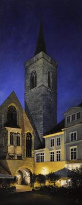 Erfurt: am Wenigemarkt - 2019, 40 x 100 cm, Öl auf Leinwand