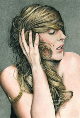Nicole - 2013, 24 x 36 cm, Buntstift auf Karton