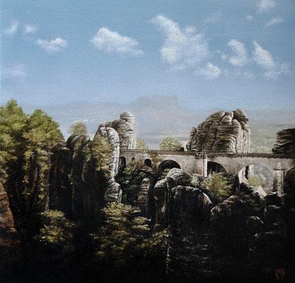 Bastei - 2015, 40 x 40 cm, Öl auf Leinwand