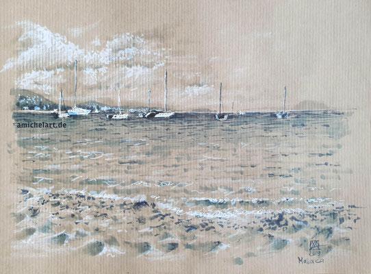 Mallorca, am Sandstrand - 2019, 21 x 29 cm, Filz-/Buntstift auf Papier