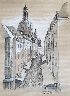 Dresden, Münzgasse - 2019, 21 x 29 cm, Filz-/Buntstift auf Papier