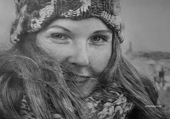 Jenni 2 - 2017, 30 x 41 cm, Bleistift/Farbstift auf Karton