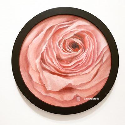 Die Rose - 2019, Durchmesser 25 cm, Öl auf Karton