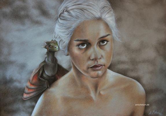 Daenerys - 2012, 30 x 42 cm, Buntstift auf Karton