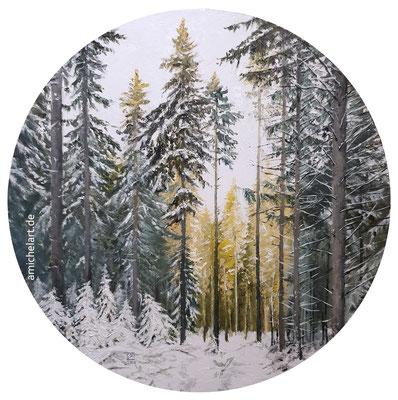 Winterwald - 2021, Durchmesser 25 cm, Öl auf Karton