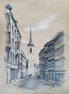 Erfurt, Blick auf die Marktstraße - 2020, 21 x 29 cm, Filz-/Buntstift auf Papier