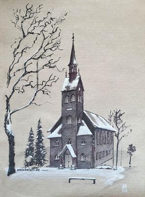 Holzkirche in Neuhaus am Rennweg - 2018, 21 x 29 cm, Filzstift auf Papier