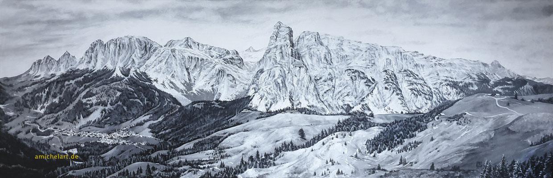 Alpenszene - 2021, 40 x 120 cm, Acryl auf Leinwand