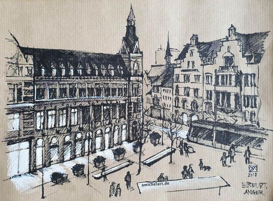 Erfurt, Anger - 2018, 21 x 29 cm, Filzstift auf Papier