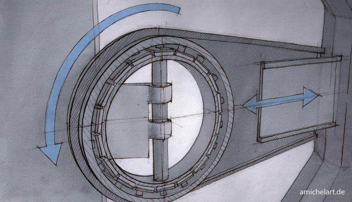 "Handskizze zu Designprojekt ""Verpackungsmaschine"""