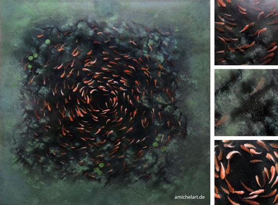 Der Schwarm - 2018, 50 x 50 cm, Acryl auf übereinander geschichteten Acrylglasplatten; Ansicht mit Details
