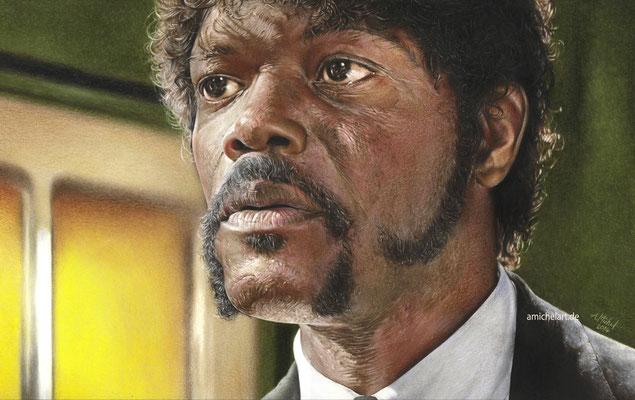 Samuel L. Jackson - 2014, 25 x 42 cm, Buntstift auf Karton
