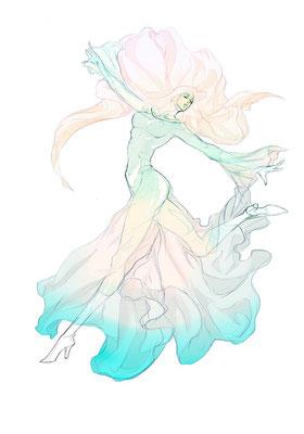 2012.12 画材:鉛筆,デジタル ベヨネッタ シスター アニメもスカートは厳しかった…