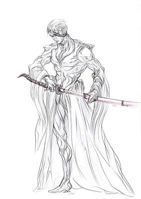 2010.7.16 画材:鉛筆 武士や戦士は好きですね。何がしっくりくるかなあ…と模索しながら描いてます。