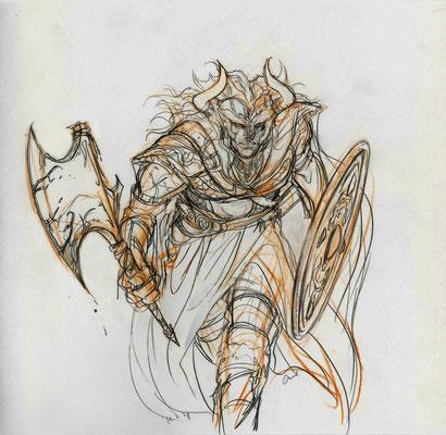 2010.2.28 画材:鉛筆 せっかく荒々しいのを描いてたので、荒々しい質のままにしてみました。この時期VIKINGにハマってましたが、これはもうファンタジー。。