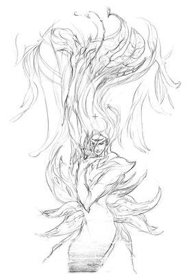 2010.4 画材:鉛筆 蓮の妖精のような、無重力な水中のようなイメージだった気がする。。サードアイガン開きだな。