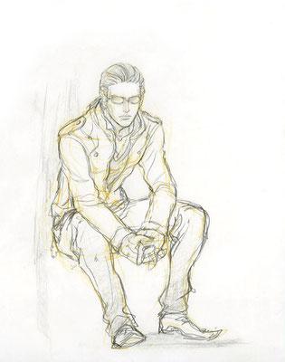 2009.11. 画材:鉛筆 居たんです!こんな人が荻窪駅のホームに。艶やかな黒髪をビシッと結ってて、すごくカッコよかったからよく観察したかったんですが、カッコよすぎて逆に見れなかった……もっとスマートだったかな。。