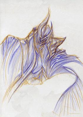 2008.10.9 画材:鉛筆 陰陽の陰の擬人化。人じゃないけど…infanteと名前があります。名前をつけちゃうと愛着が湧いちゃうからいけない…。